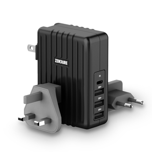 4-Port Chrger with PD 45W Black EU,UK,US