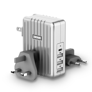 4-Port Chrger with PD 45W Slv EU,UK,US