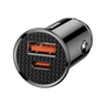 Circular Car Charger USB+TypeC 30W Black
